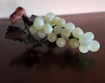 Stone Grape Cluster with Hand Carved Leaves