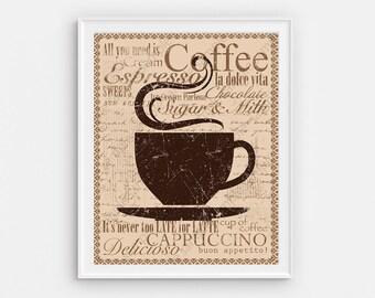 Printable Coffee art. Coffee decor. Kitchen wall Art coffee sign. Rustic Kitchen Coffee poster. Coffee lover gift. Coffee bar sign digital