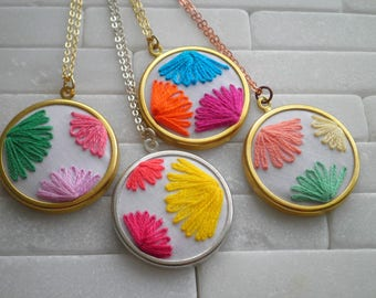 Modern Leaf Necklace - Embroidered Flower Petal Necklace - Fiber Art Fan / Ginkgo Leaf Embroidery - Color Block Foliage Jewelry Gift For Her