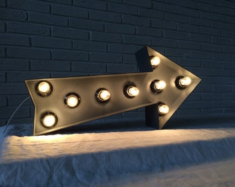 Wall decor living room industrial decor Metal arrow light up , wall sign, wall decor sign arrow,  arrow sign bulbs, marquee, light up sign