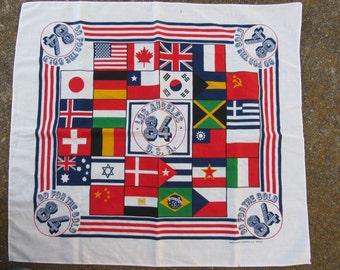 1984 Los Angeles USA Olympics Bandana, Made in USA // Vintage Olympic Games Handkie