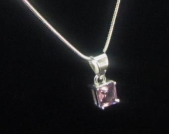 Square Amethyst Gemstone, Silver Pendant Necklace