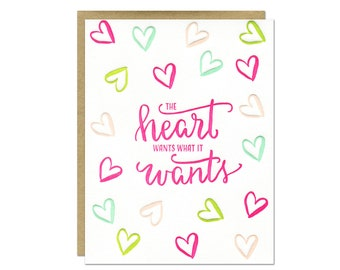 Heart Wants Letterpress Card