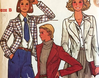 1970s Vintage Women's Blazer Sewing Pattern