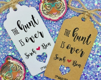 The Hunt is Over, Rustic Wedding Favour Tags, Engagement Party, Hunting Themed, Spring Wedding