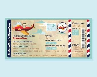 Aeroplane Boarding Pass Printable Birthday Invitation - airline boarding ticket birthday invitation