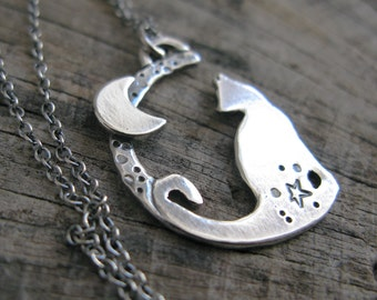 Love you to the moon and back - Sterling Silver Night Cat Pendant on Chain