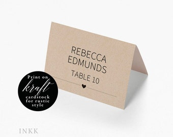 Place Card Template, Wedding Place Cards Printable, Flat or Folded Tent Place Cards Wedding, Place cards for Wedding Editable PDF #E015