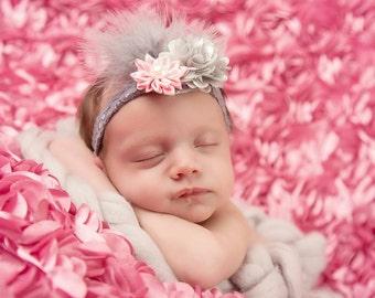 grey Feather Headband, light pink elastic headband, baby headband, baby shower gift, flower girl headband, bridal headband, bridesmaid gift