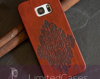 "Case for Samsung Galaxy S7 edge with rosewood-wood Edition, laser-engraved ""Phantasia"""