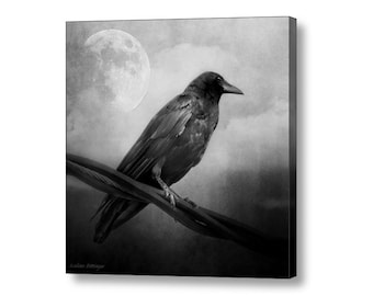 Gothic Black and White Surreal Raven Crow Moon Night Sky Black and White Square Fine Art Photography on Giclee Gallery Wrap Canvas