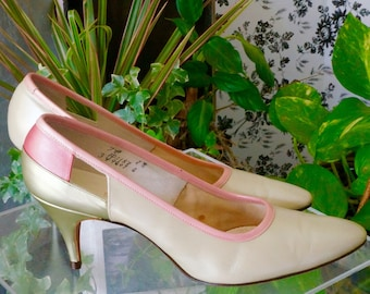 Free Shipping! Vtg. VALLEY Pumps in Taupe Green and Pink - Size 7