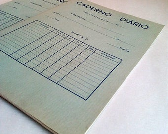 """Vintage Blue Notebooks """"Caderno Diário"""" Old Portuguese School Books of the 60s."""