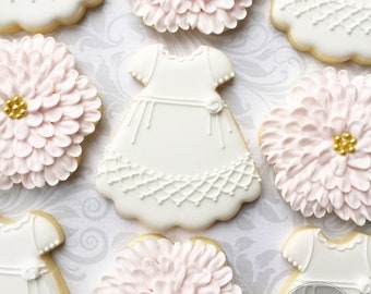 Christening Gown and Flower Cookies -one Dozen Decorated Sugar Cookies