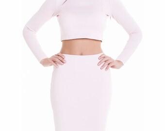 Elegant Skirt, Pink Skirt, Crop Top and Skirt, Top Set, Fitted Skirt, Circle Skirt, Bodycon, Formal Skirt, Evening Skirt, Full Skirt