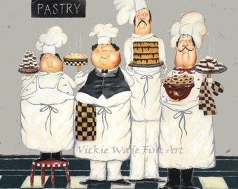 Fat Chefs Art Print, chef paintings, art, kitchen art wall decor, waiters, cooks, four TALL pastry chefs, gray kitchen art, Vickie Wade art