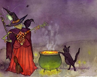Halloween Greeting Card - Funny Witch & Black Cat Halloween Card Illustration Print - 'Bubble Bubble Toil And Trouble'