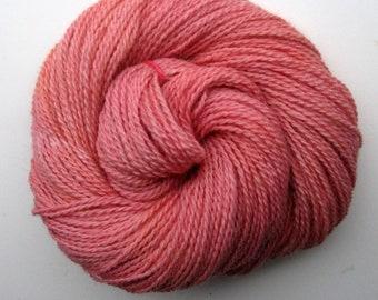Hand dyed Salmon Yarn, Suri Alpaca and Finn Sheep Yarn, 2 ply DK,  250 yards, Grown and Made in Michigan