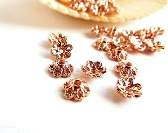 50 Rose Gold Plated Flower Bead Caps - 18-1