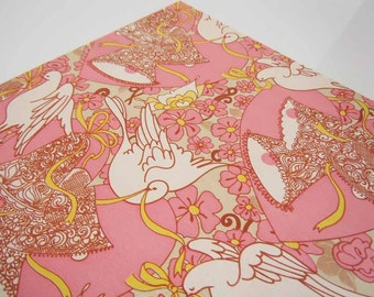 Vintage Wedding Bridal Shower Wrapping Paper Peach White Doves Wedding Bells Gift Wrap