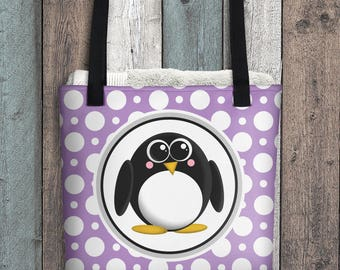 "Cute Penguin Tote Bag - Purple Polka Dot Pattern - Cute Penguin Cartoon Illustration - All Over Print 15"" Tote Bag"