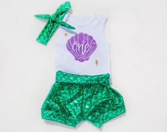 Mermaid Outfit / First Birthday Outfit Baby Girl / Mermaid Shorts / Mermaid Birthday outfit / Mermaid shorts / 1st Birthday