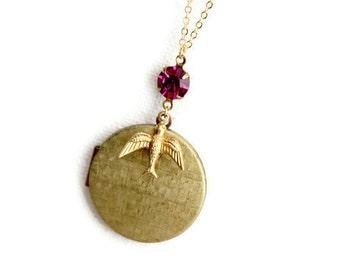 Flug - Magenta Stein und großen Medaillon mit Vogel Charm Halskette