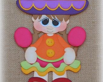 Fiesta Girl Mexico Premade Scrapbooking Embellishment Paper Piecing