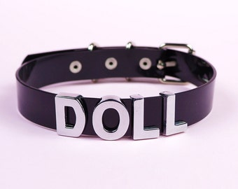 DOLL Choker | Vinyl Choker Collar | Faux Leather PVC | Name Collar | Clear Choker | Custom | Letters | Safe Word Choker | Shop Kadabra