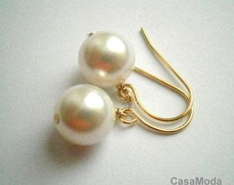 Drop pearl earrings, ivory pearl earrings, bridesmaids earrings, cream pearl earrings, simple pearl, everyday jewelry, large pearl earrings