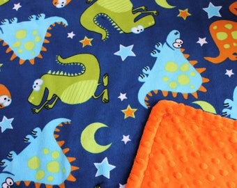 Minky Blanket Dinosaur Print Minky with Orange Minky Backing Perfect Size Blanket - perfect gift for a boy