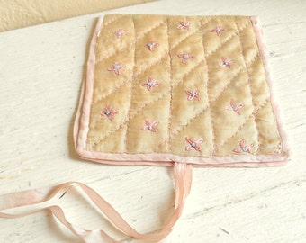 Antique Silk Hand Embroidered Hand Quilted Hosiery Handkerchief Pouch Case with Tie - Free Shipping