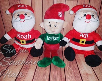 Personalized plush Santa & Elves! Perfect for Christmas gifts!