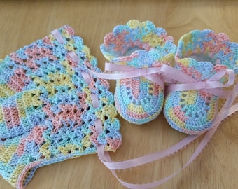 Baby Bonnet Booties Crochet, Christening Baby Girl Bonnet Shoes, Pastel Lace Bonnet Booties, Newborn Girl, Reborn Doll, Baby Shower Gift