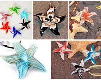 Coastal Inspired Beach LARGE STARFISH Glass Pendant Jewelry - Multi-Colorful Murano Glass Lampwork Charm Pendant Necklace