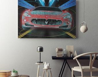Maserati Nights Abstract Maserati Framed Canvas Wall Art Exotic Car Art