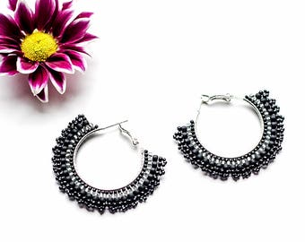 Black Bohemian Earrings Delicate Earrings Boho Handmade Jewelry for Women's Black Earrings for Women Trendy Hoop Earrings Gypsy Earrings