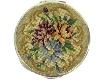 Vintage Austrian Compact - petit point compact - vintage powder compact - embroidered makeup compact