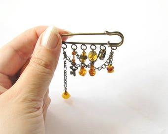 Natural Amber Dangle  Boho Brooch, Raw Baltic Amber Brooch, Gemstone Brooch, autumn sun, bronze brooch, ethnic bohemian jewelry