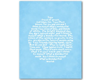 What a wonderful world Louis Armstrong song lyrics - typography word art inspirational ready to hang CANVAS art - Nursery Wall decor