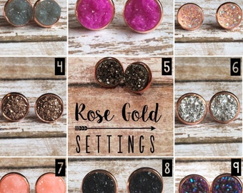 Rose Gold Setting Earrings in 14 Different Faux Druzy Center Colors