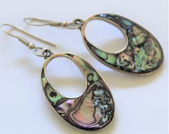 Vintage abalone earrings. Mexican alpaca earrings. Drop earrings