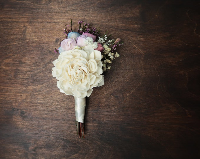 Pastel wedding boutonniere ivory blue lavender purple sola and preserved flowers real heather spring romantic wedding groom field flowers