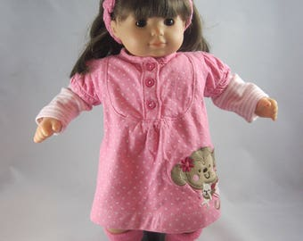 Monkey Business -- Adorable dress for a Bitty Baby or other similarly sized doll. Easy on and off. Made from an upcycled baby outfit.