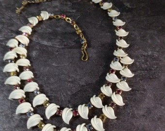 1950s necklace ,pastel colour rhinestone and white leaf