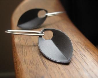 sterling silver earrings in espresso. modern leaf earrings in chocolate. splurge.
