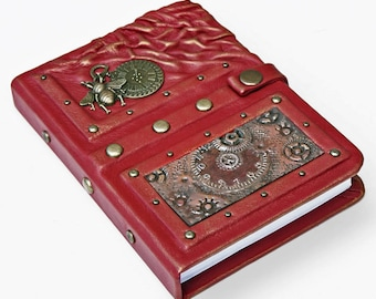 Handmade steampunk leather journal, leather notebook, travel journal, travel notebook, writing journal, steampunk, journals with lock