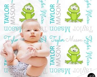 Frog baby blanket, frog receiving baby blanket, boy blanket, photo prop blanket, frog name blanket, frog baby gift,CHOOSE COLORS