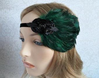 Great Gatsby Headpiece, Green Feather Headband 1920s Bridal Accessory Gatsby Wedding Hair Accessory, Flapper Headband, Roaring 20s Hairpiece