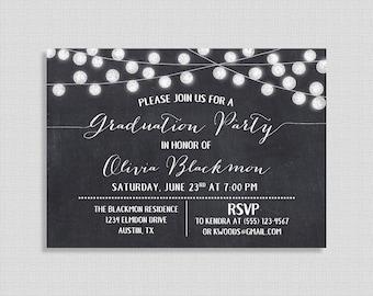 Chalkboard Graduation Invitation, Chalkboard Style String Light Invite, Graduation Celebration, DIY PRINTABLE